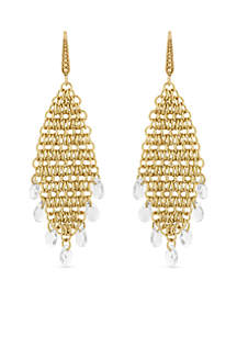 Gold-Tone Mesh Chain Chandelier Earrings