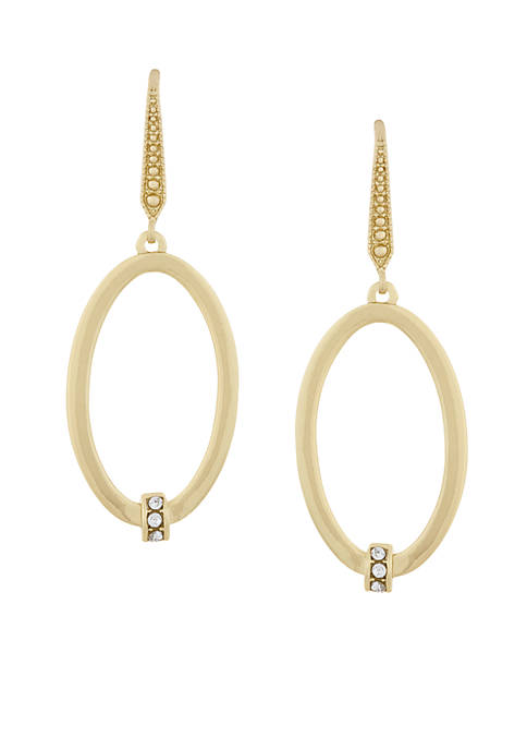 Laundry by Shelli Segal Oval Pave Drop Earrings