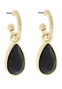 Gold-Tone Small Pave Hoop Teardrop Earrings