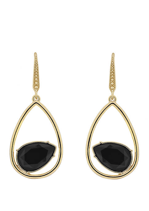 Gold-Tone Teardrop Pierced Earrings with Jet Stone and Pave Detailing