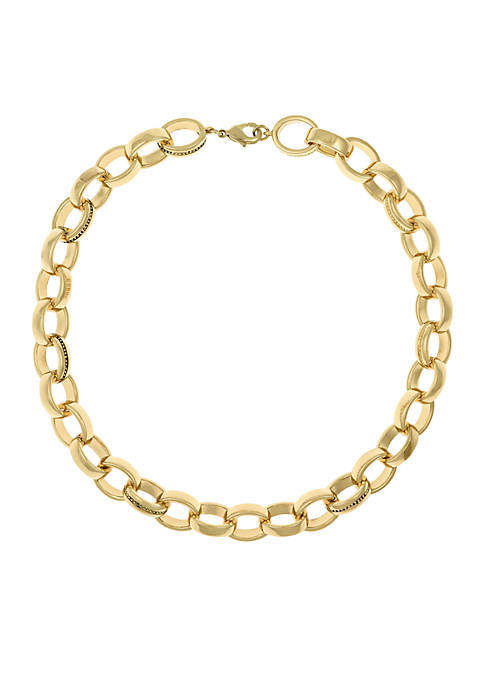 Gold-Tone Chain Link Collar Necklace