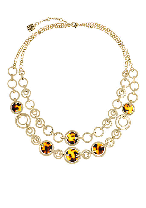 Gold-Tone 2 Row Tortoise Link Necklace