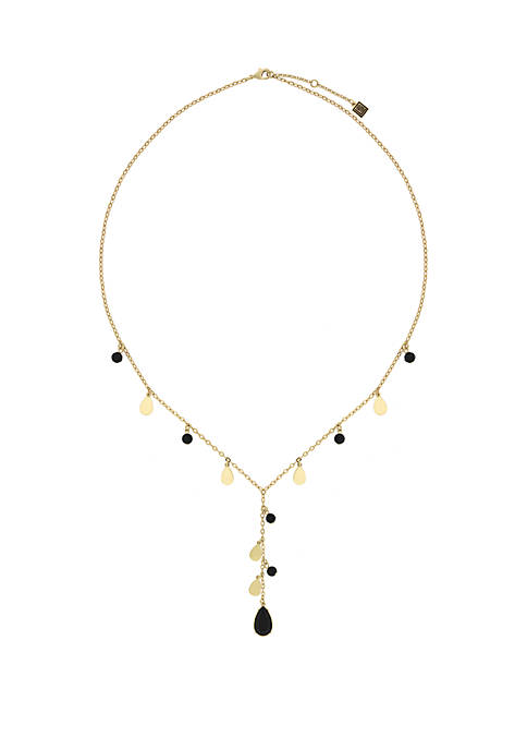 Gold-Tone Shakey Beaded Y Necklace with Jet Teardrop Stones