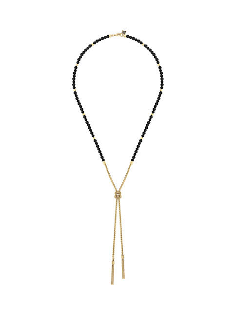 Gold-Tone Knotted Y-Necklace with Reconstituted Lapis Beads