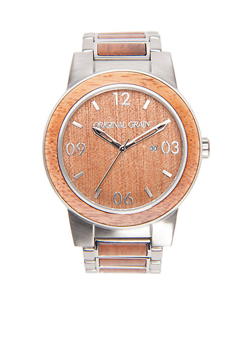 ORIGINAL GRAIN Mens Barrel Mahogany Silver Watch