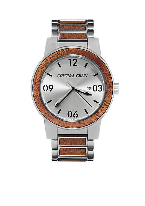 Mens Barrel Mahogany Silver Watch