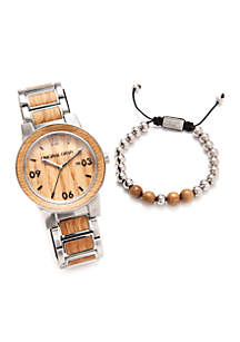 Exclusive Men's Silver And Wood Watch Bracelet Set