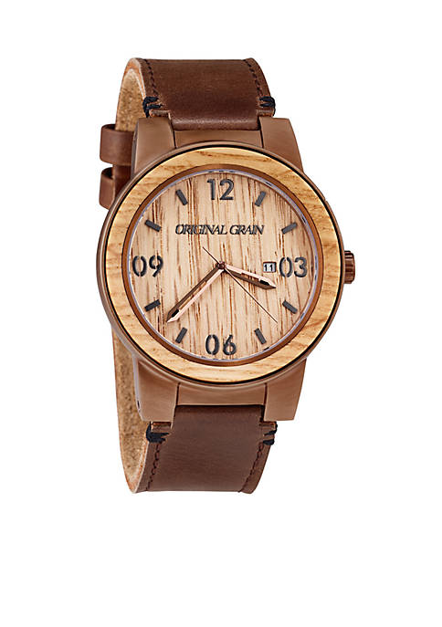 ORIGINAL GRAIN Mens Barrel Whiskey Espresso Leather Watch