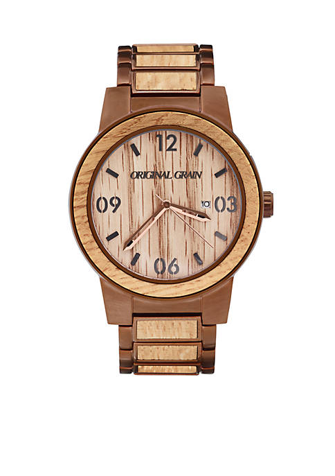ORIGINAL GRAIN Mens Barrel Whiskey Espresso Watch