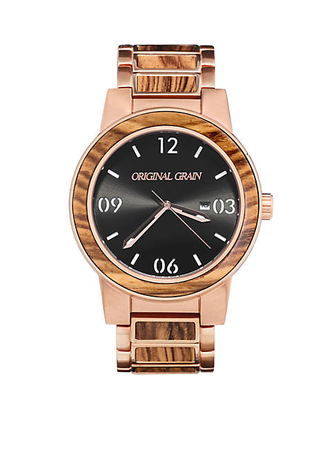 Mens Barrel Zebra Wood Rose Gold Watch