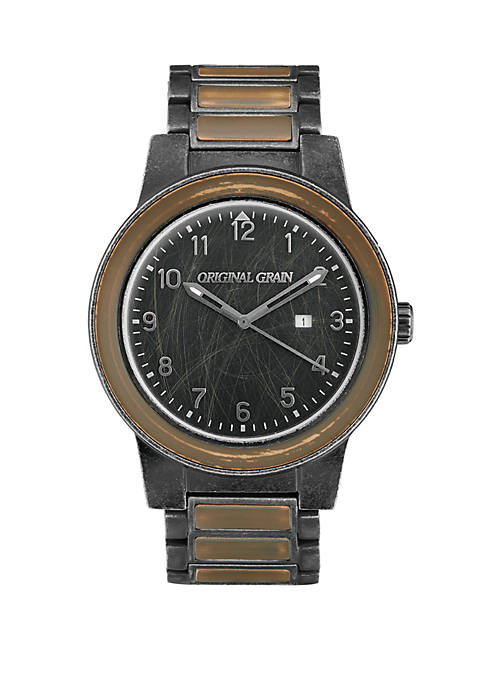 ORIGINAL GRAIN Stainless Steel Barrel Watch with Steel