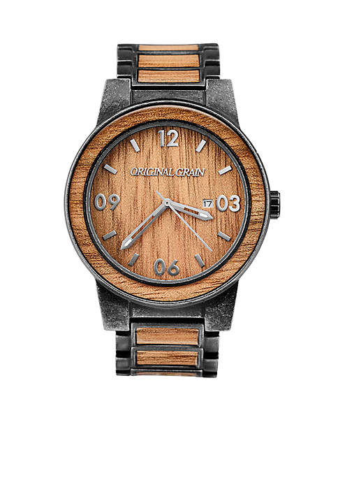 Wood Barrel Collection Analog Stonewashed Stainless Steel