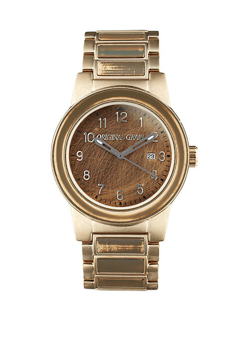 Gold-Tone Stainless Steel Barrel Watch with Steel Band and Extra Green Tent Strap