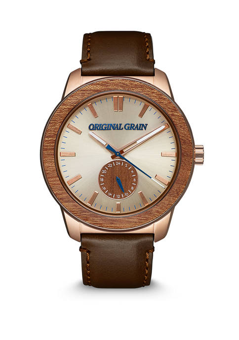 Mens Sapele Wood Rose Gold Leather Band Watch