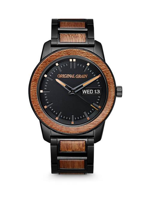 Mens Sapele Wood Black Steel Watch