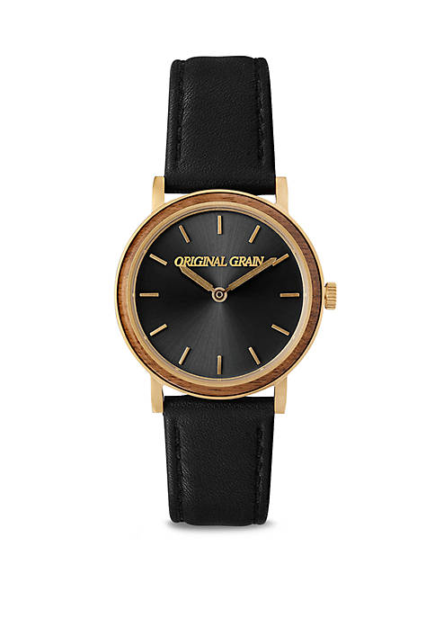ORIGINAL GRAIN Gold Plated Modern Leather Strap Watch