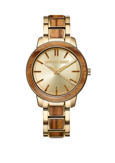 Womens Zebrawood Gold Watch