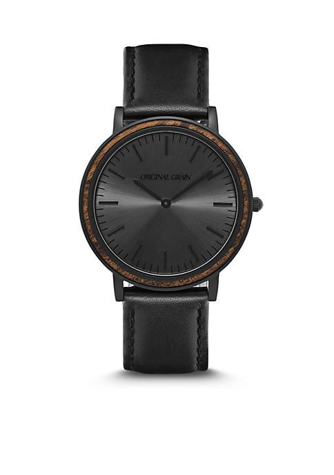 ORIGINAL GRAIN Stainless Steel Minimalist Ebony Black Dial