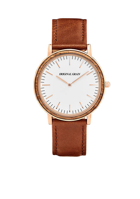 ORIGINAL GRAIN Mens Minimalist Zebrawood Rose Gold Watch