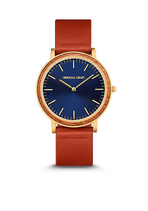 Mens Mahogany Blue Dial Cognac Leather Watch
