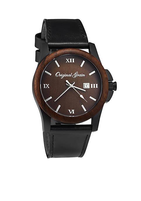 ORIGINAL GRAIN Mens Classic Ebony Black Leather Watch