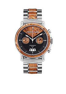ORIGINAL GRAIN Men's Alterra Brushed Silver Burlwood Watch