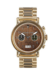 Gold Chrono Watch with Gold Steel Band and Extra German Camo Strap