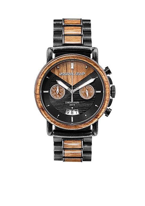 Chrono Koa wood With Stonewash Finish Watch