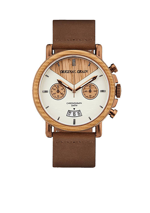 ORIGINAL GRAIN Mens Alterra Brushed Espresso Whiskey Wood