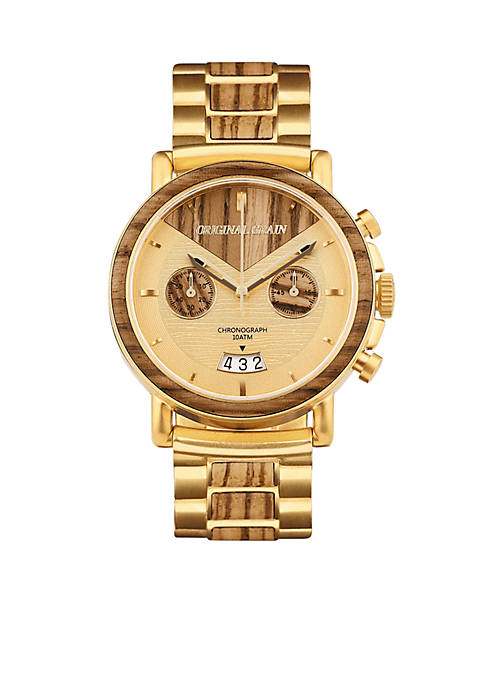 ORIGINAL GRAIN Brushed Gold Stainless Steel Capitol Chrono