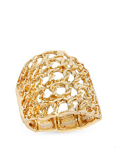 Curvy Chic Gold-Tone Basket Weave Stretch Ring