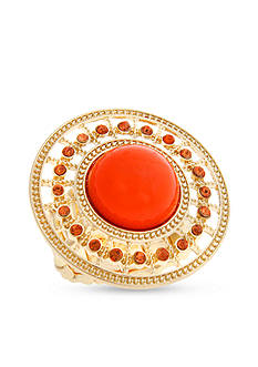 Curvy Chic Gold-Tone Coral Stretch Ring
