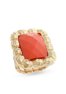 Curvy Chic Gold-Tone Coral Square Stretch Ring