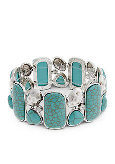 Curvy Chic Silver-Tone Turquoise Crystal Stretch Bracelet
