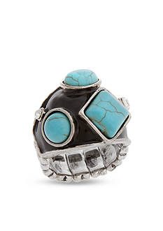 Curvy Chic Silver-Tone Black Turquoise Stretch Ring