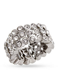 Curvy Chic Silver-Tone Crystal Stretch Ring