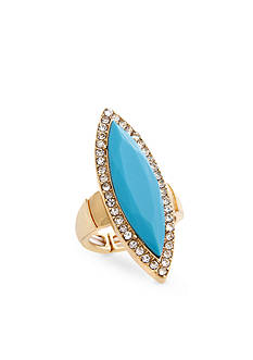 Curvy Chic Gold-Tone Turquoise Crystal Stretch Ring