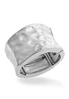 Curvy Chic Silver-Tone Hammered Stretch Ring