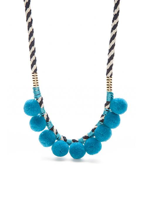 Gold-Tone Pom Pom Collar Necklace