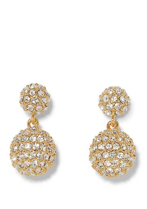 Crystal Pave Double Drop Fireball Earrings