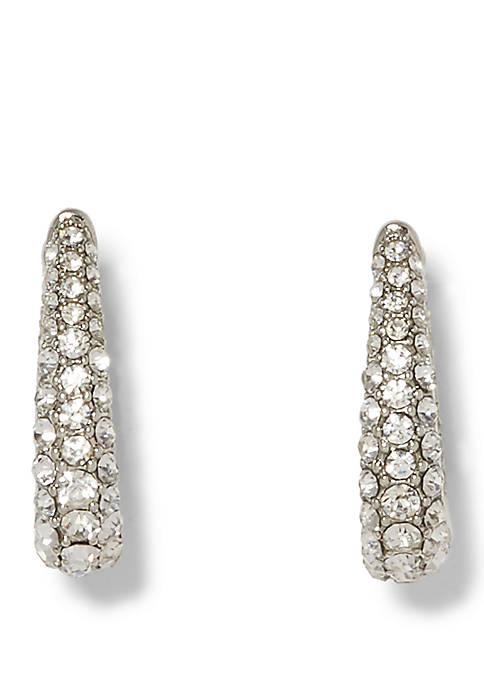 Crystal Pave Oval Hoop Earrings