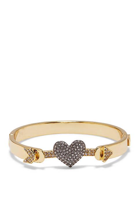 Crystal Pave Heart Hinge Bracelet