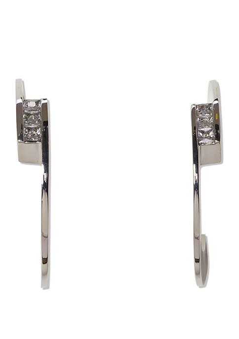 Hoop Earrings With Knife Edge and Crystal Baguette Stones