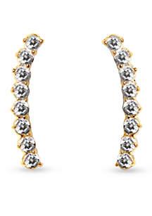 Gold-Tone Metal Core Thin Linear Earrings