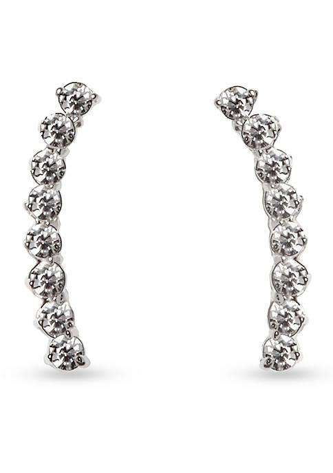 Silver-Tone Metal Core Thin Linear Earrings
