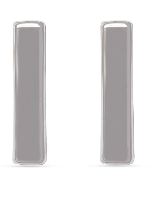 Silver-Tone Metal Core Vertical Bar Earrings