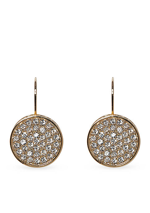Gold Tone Pave Core Round Pave Disc Lever Back Earrings
