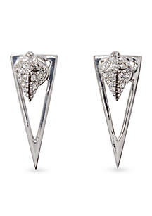 Silver-Tone Pave Core Pave Pyramid 2 Part Front Back Earring