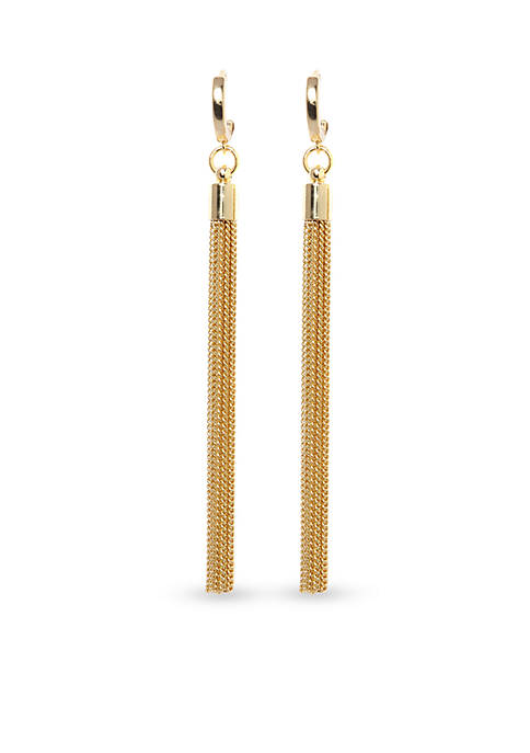Gold-Tone Metal Core Linear Tassel Earrings