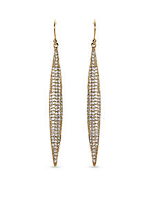 Gold-Tone Pave Core Clear Crystal Pave Spear Drop Earrings
